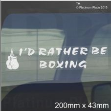I'd Rather be BOXING-Car Window Sticker-Boxer Gloves Sign-Prevent Road Rage